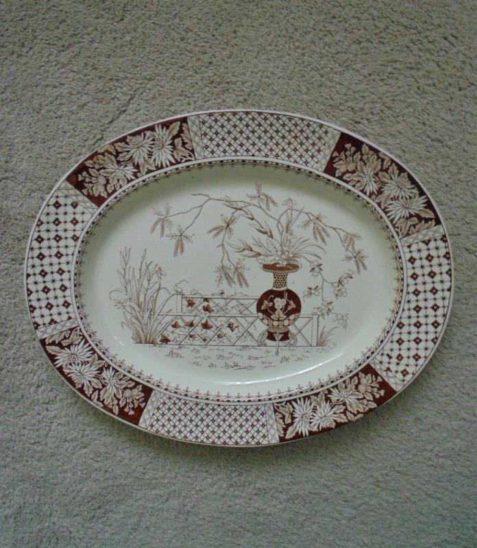 19th c. Aesthetic Eastlake Turkey Platter W. T. Copeland Brown Transferware