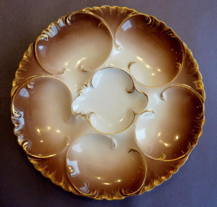 Antique Oyster Plate ~ HAVILAND & Co.~ LIMOGES ~ Beautiful CHOCOLATE Brown Ombré