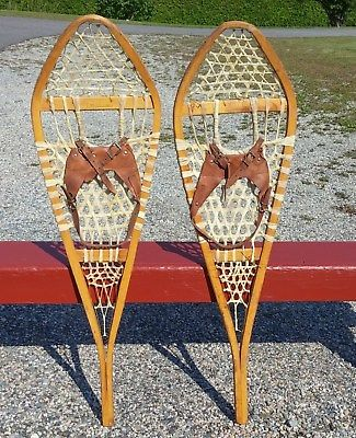 Vintage SNOWSHOES 42x12 w/ Leather BINDINGS Snow Shoes Must See W@W!