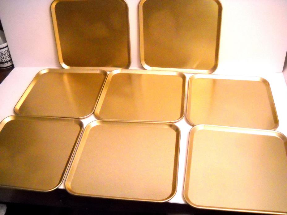 SET OF 8 VINTAGE GOLD METAL HOLIDAY PARTY  SERVING TRAYS 10.5'' X 10.5''