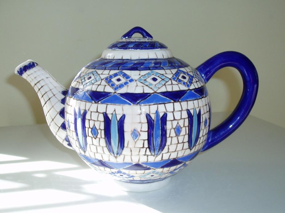 Zrike mosaic blue and white teapot.  6 inches high.  10 inches wide.