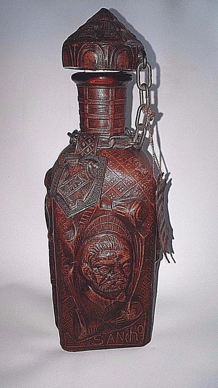 Vintage Genuine Goat Leather Covered Spain Whisky Whiskey Bottle Decanter Sancho