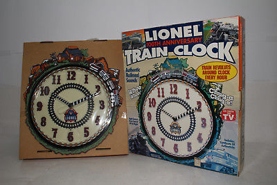 LIONEL 100TH ANNIVERSARY TRAIN CLOCK, EXCELLENT, BOXED
