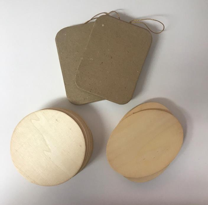 Paintable Wooden Coasters~10 Round & 5 Oval