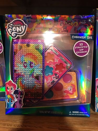 My Little Pony Cosmetic Set w/ Case, and 10 flavored LIP GLOSSES!