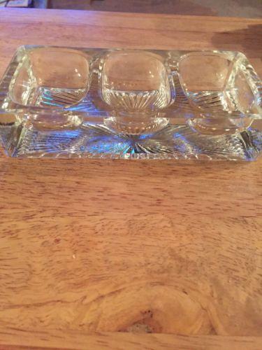 VINTAGE ESTATE FIND THICK GLASS 3 WAY OPEN SALT CELLAR UNKNOWN MAKER