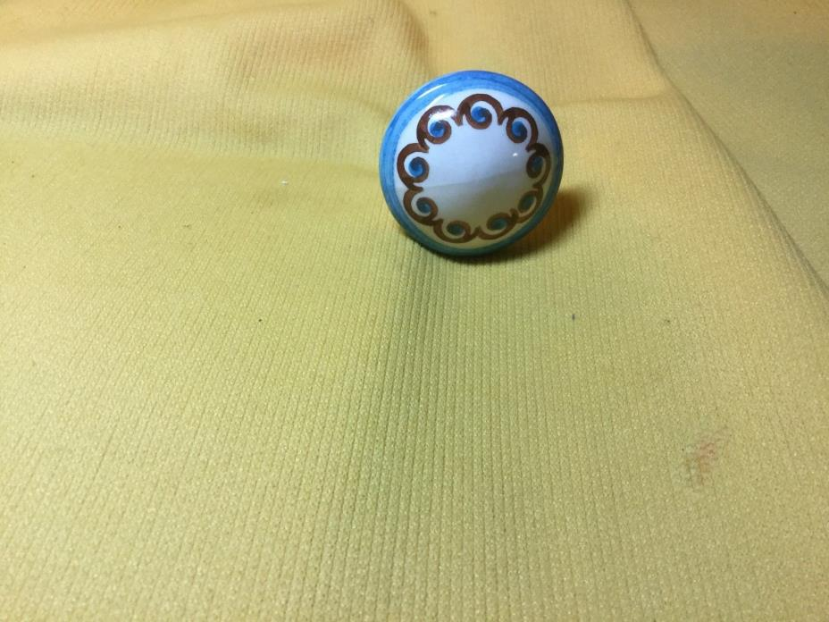 Boleslawiec Polish Pottery Blue and Brown  Swirl  Draw Pull