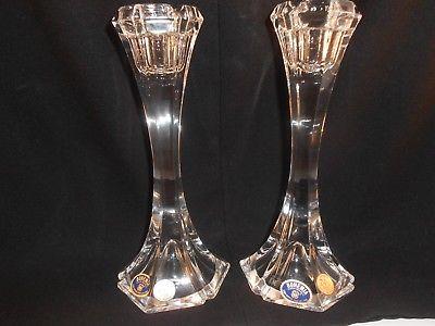 Pair of Bohemia Crystal Candlesticks 24% Lead Crystal Czech Republic