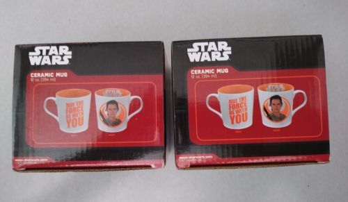 Star Wars Ceramic Mugs 12oz Cups May the force be with YOU Lot of 2 Set New