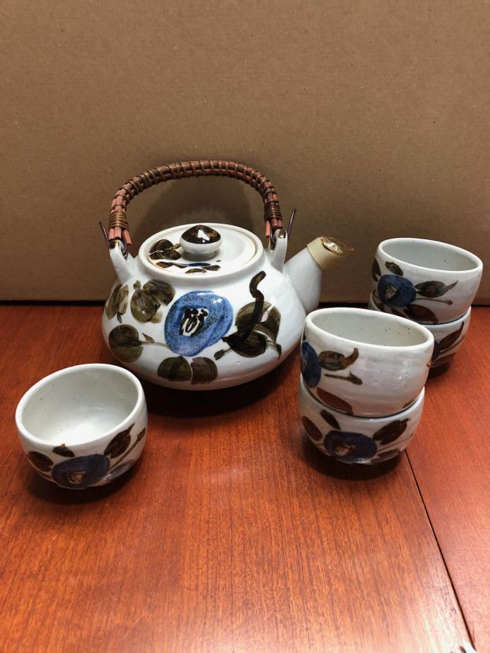 Vintage Stoneware Teapot & 5 Handleless Cups - Japan - Asahi