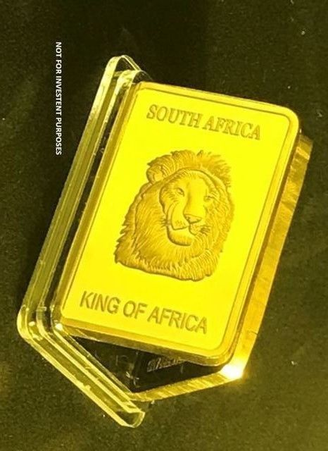 1 OZ 999 Gold Clad King of Africa Collectors Bar #J