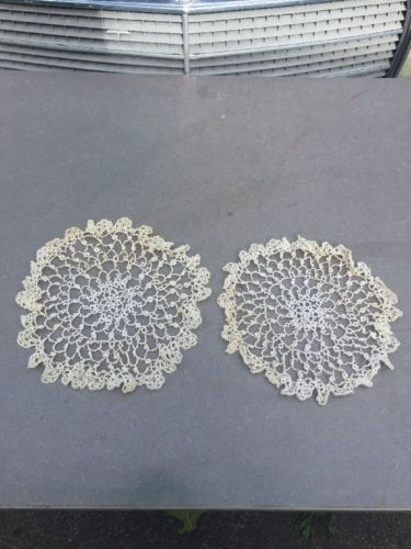 Antique 19c Hand Done Needle Lace Tattered Doily Doiley Set Of 2