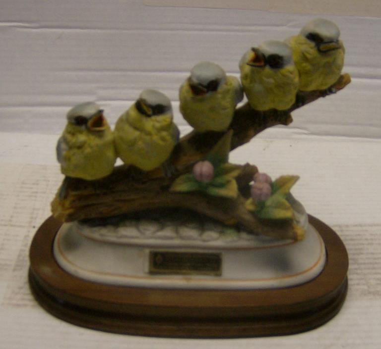 HTF Yellow Titmice on a Branch Decanter w/wood base by Hoffman Whiskey from 1979