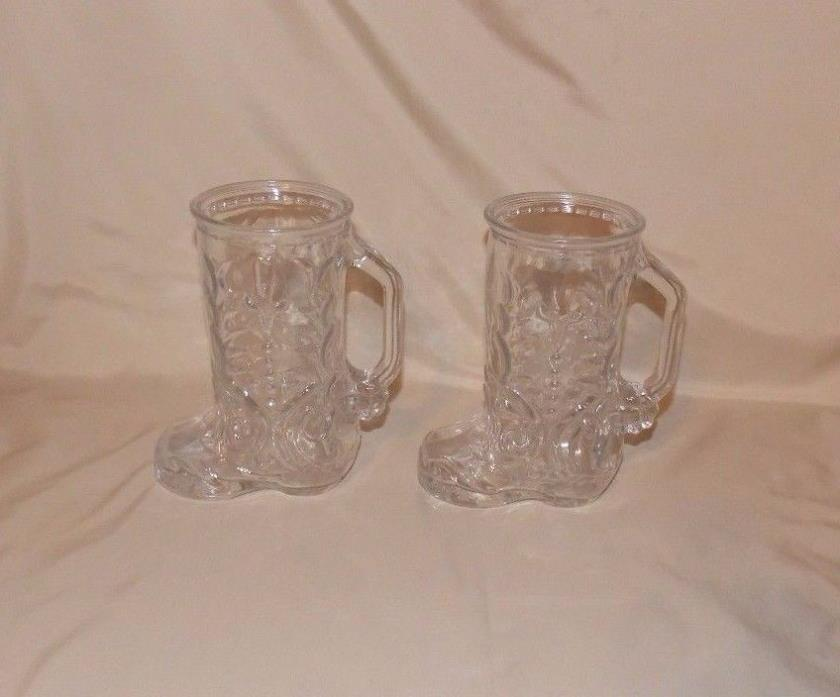 2 Country Clear Glass Cowboy Boot Shaped Drinking Mugs Barware Libbey Of Canada