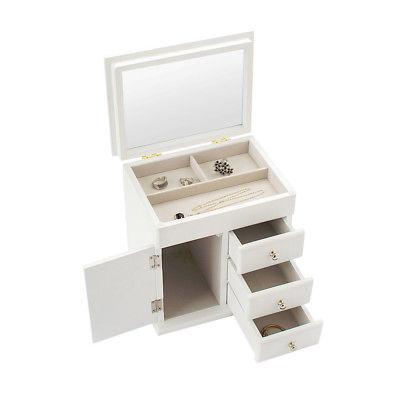 Wood Decorative Jewelry Storage Organizer Mirrored Lid Box with Three Drawers