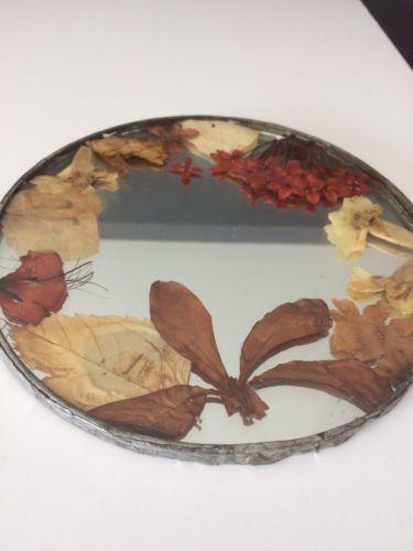 Hawaiian Mirror Made In Hawaii Dried Tropical Flowers 6.5
