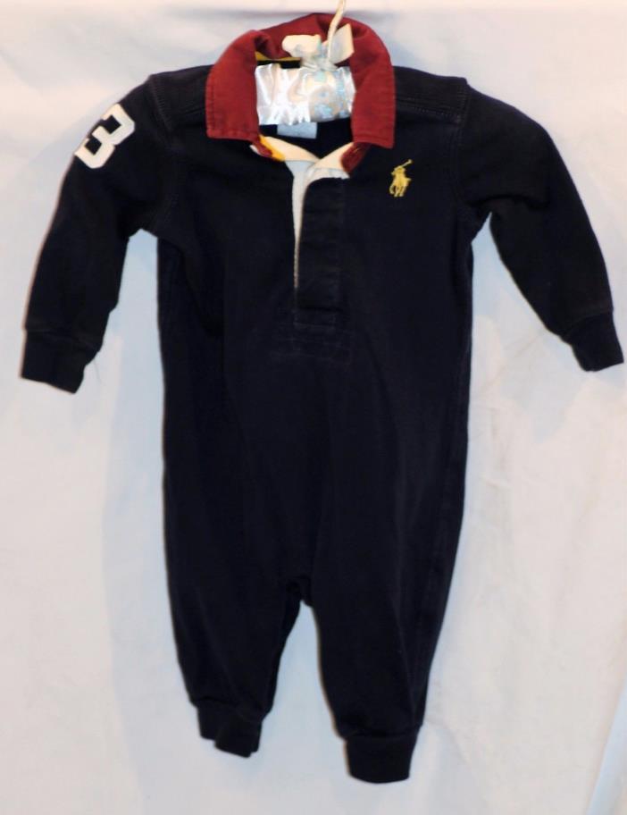 Ralph Lauren Purple Blue Cotton Collar One Piece Outfit Boys Size 3 Months