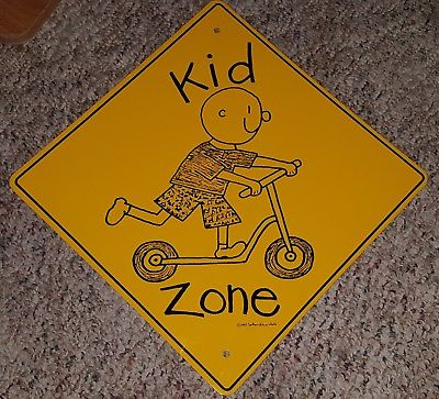 Kid Zone Metal Sign Yellow Southern Nature Works 1992 Scooter/Bike