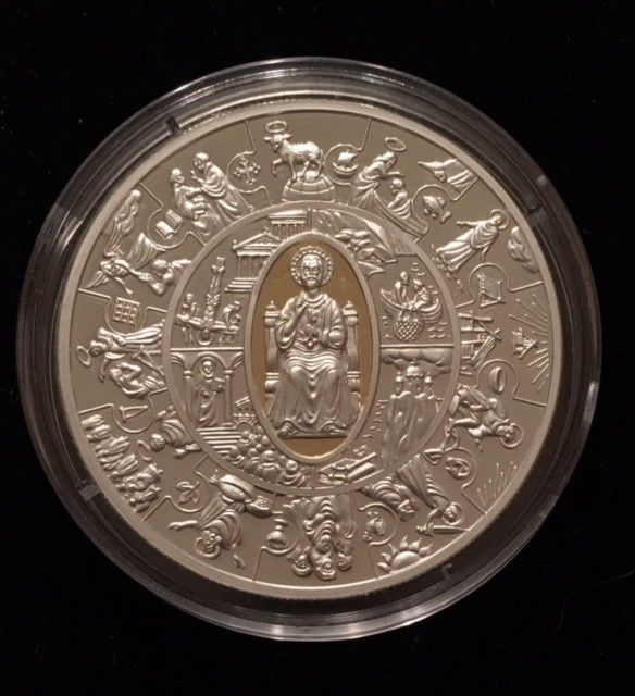 1 RARE 2010 Liberia APOSTLE PETRUS $5 Gilded Proof Silver ART BAR ROUND Coin OZ