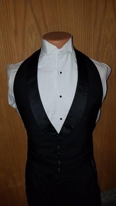 Black Wool 5 Button Backless/Open Back Vest Satin Lapel