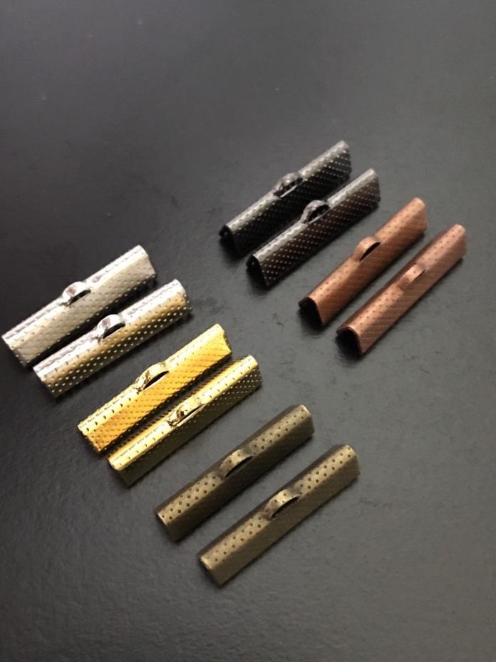 Ribbon Crimp Ends Mixed Metals Hammered 25mm 10 pcs