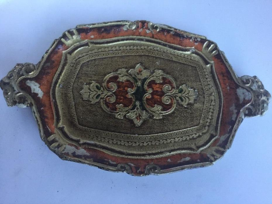 Vintage Florentine Gold Gilt Tole Tray Plaque Dish Italy Wood Handmade Florentia