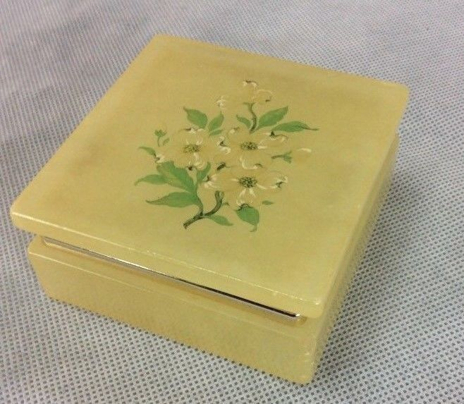 Vintage Lefton Trinket Jewelry Box Alabaster Floral Italy IT-353 Hinged