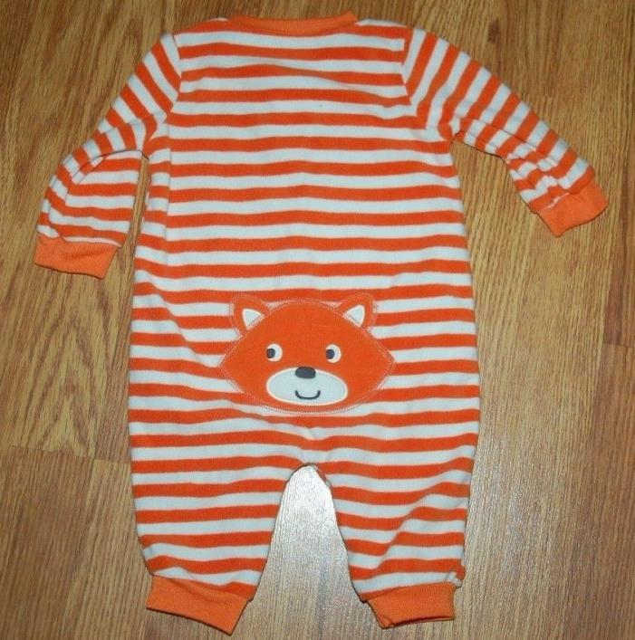Baby Boys 6 Months Orange/White Striped Fleece Fox Outfit EUC!!!