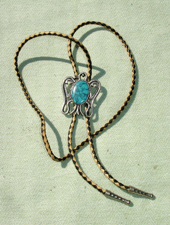 Turquoise Gemstone and Silver Bird Bolo Tie - Cowboy Necklace