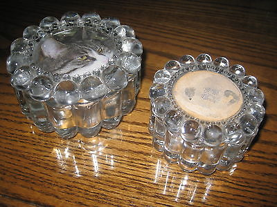 Vintage BOXES TWO  Glass Round Vanity Dresser Lidded Powder HOBNAIL FOUR INCHES
