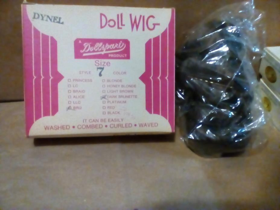 Vintage Dollspart Doll Wig Size 7 Dark Brunette Brand New Dynel