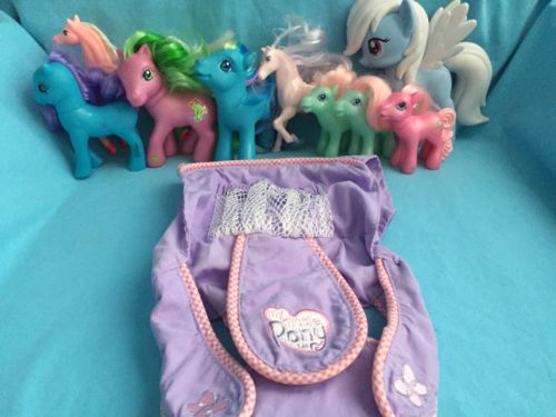 Hasbro My Little Pony Lot Of 9 Pink Blue Green Big Small & Baby Doll Carrier