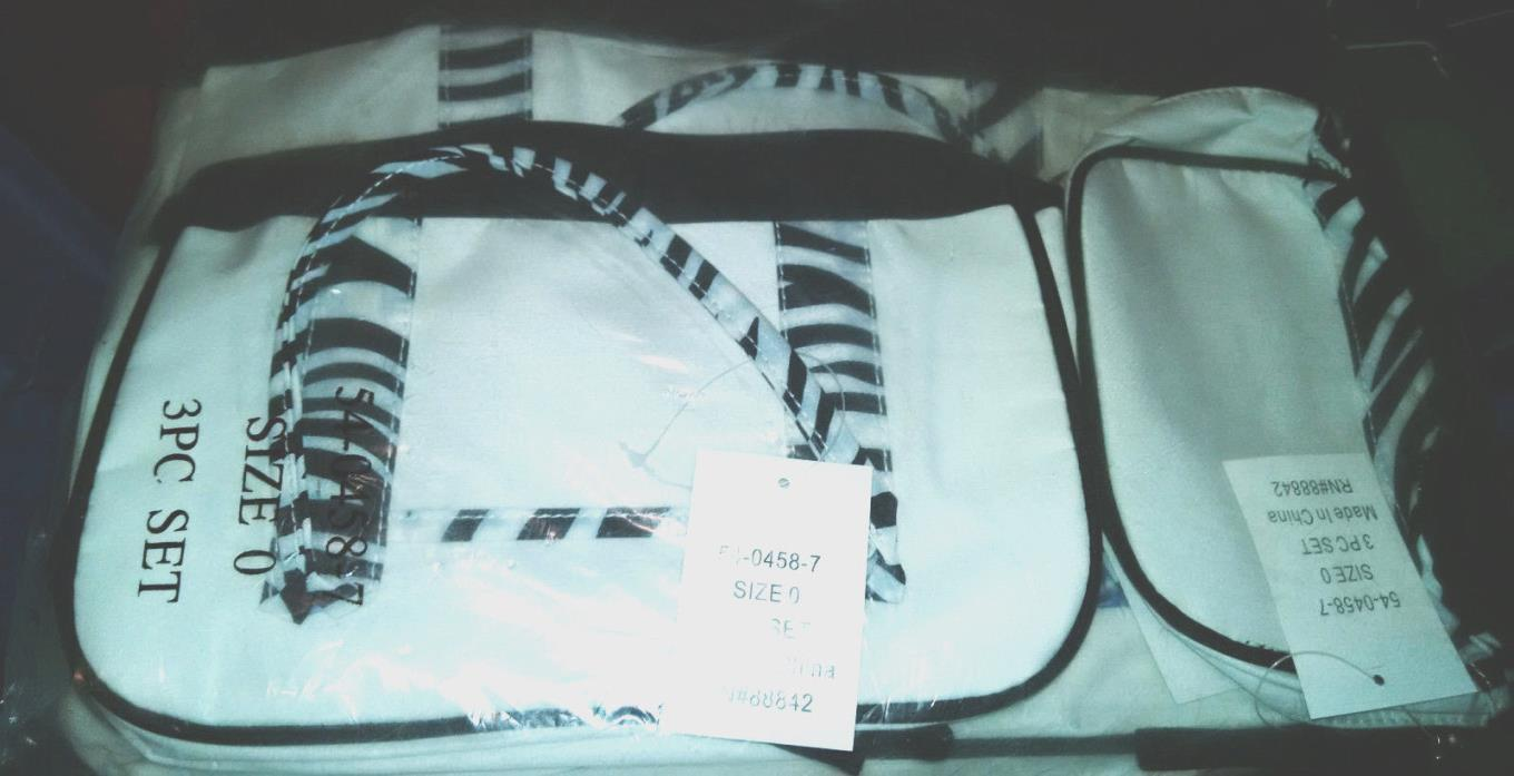 3 Piece White and Black Travel Set,nwt