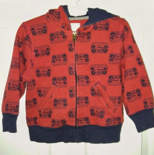 EUC Old Navy Baby Toddler Boombox Hoodie Sweatshirt Sweater Red Blue size 2T