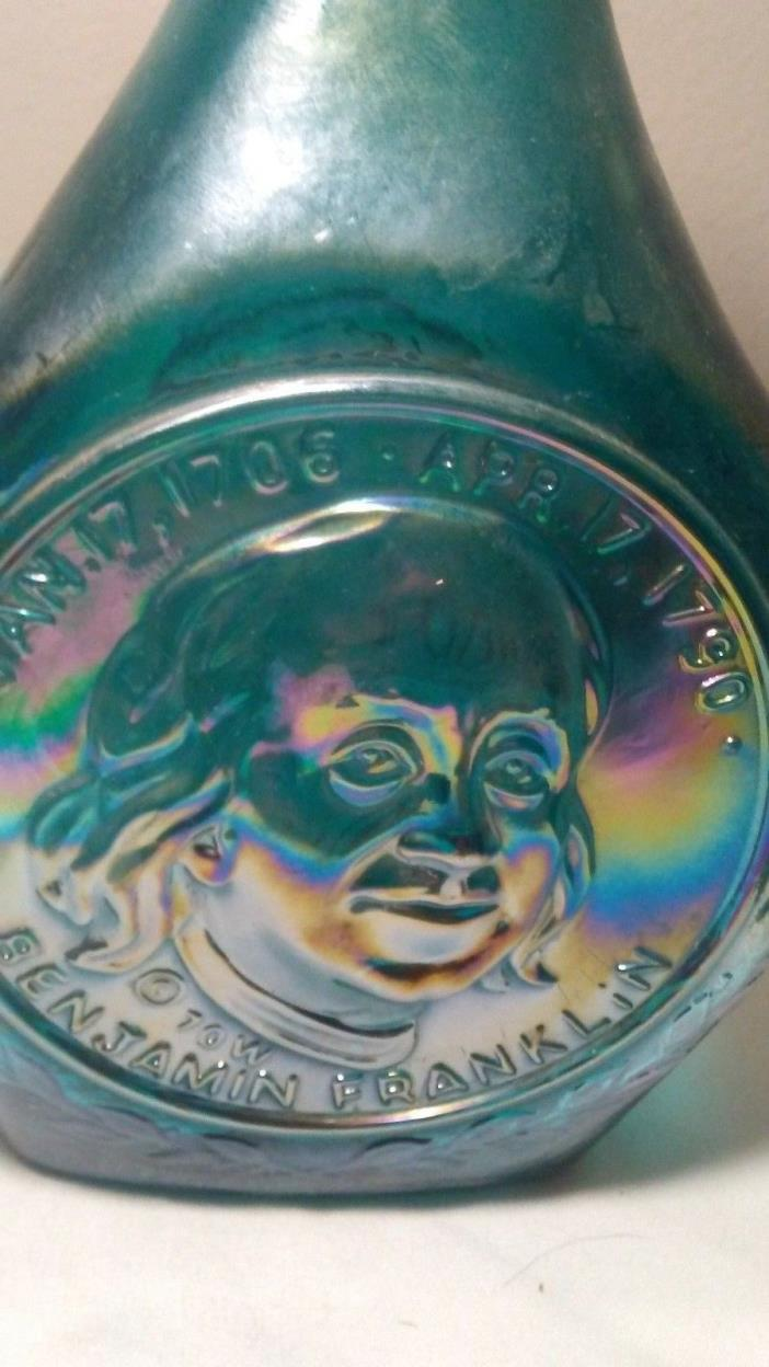 1970 Wheaton Benjamin Franklin Commemorative Iridescent Aqua Decanter Bottle