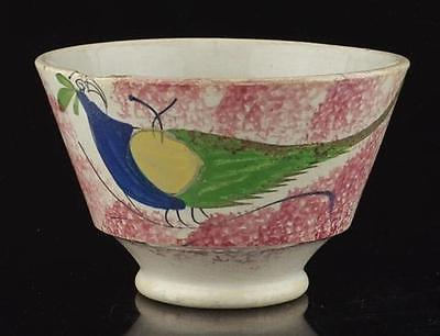 ANTIQUE SPATTER SPATTERWARE PEAFOWL CUP-19TH C.-PHIL. MUSEUM OF ART