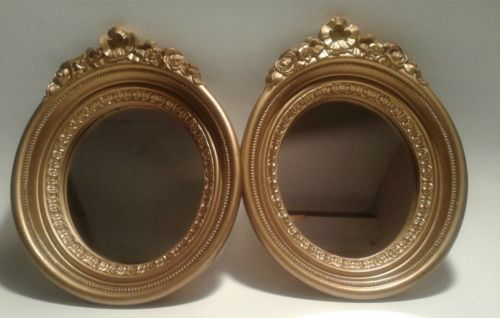 Home Interior Mirrors Set of 2 Gold Resin Oval Frame 9