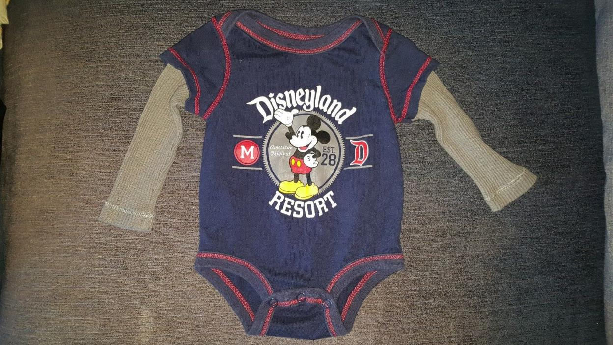 Disneyland Resort 3 month baby boy Mickey Mouse long-sleeve one-piece snap shirt