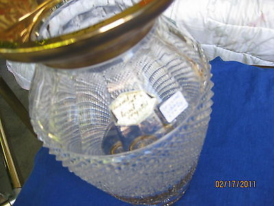 Vase VINTAGE CZECH  GOLD GILT ETCHED CUT LEAD CRYSTAL TWELVE INCH TALL SIX WIDE