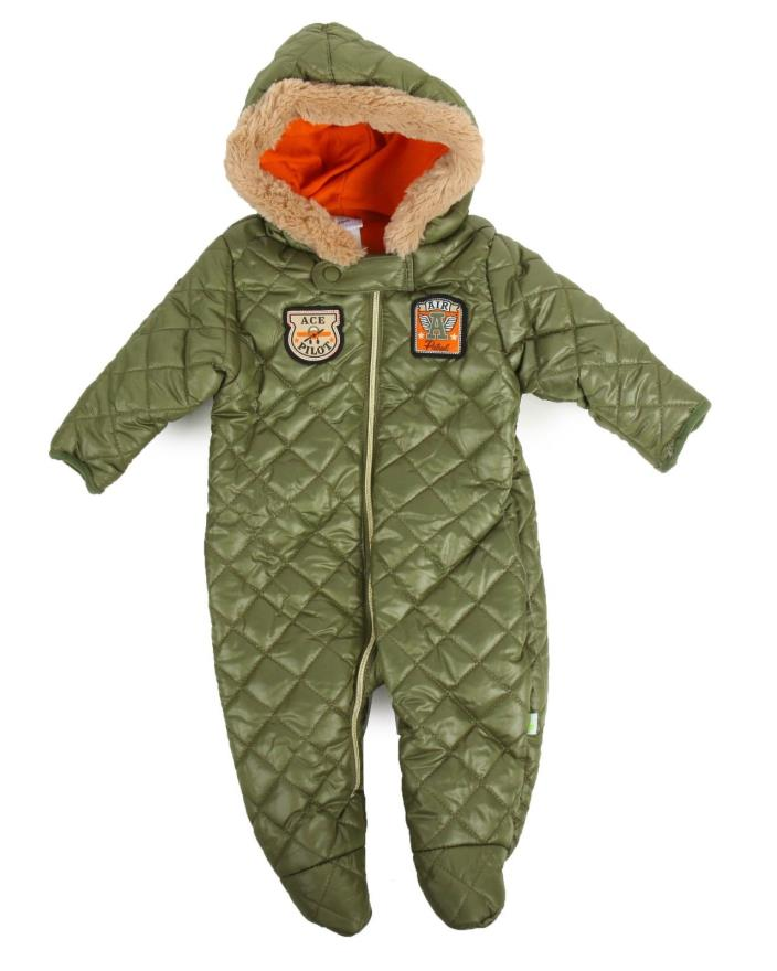 Quilted Pram (Infant) Warm Snow-suit Warm and cozy footed one piece with hood