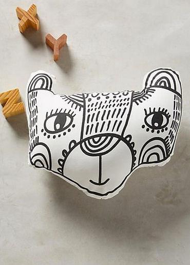 Anthropologie Wee Gallery Bear Pillow Baby Children Kid Organic Shower EUC