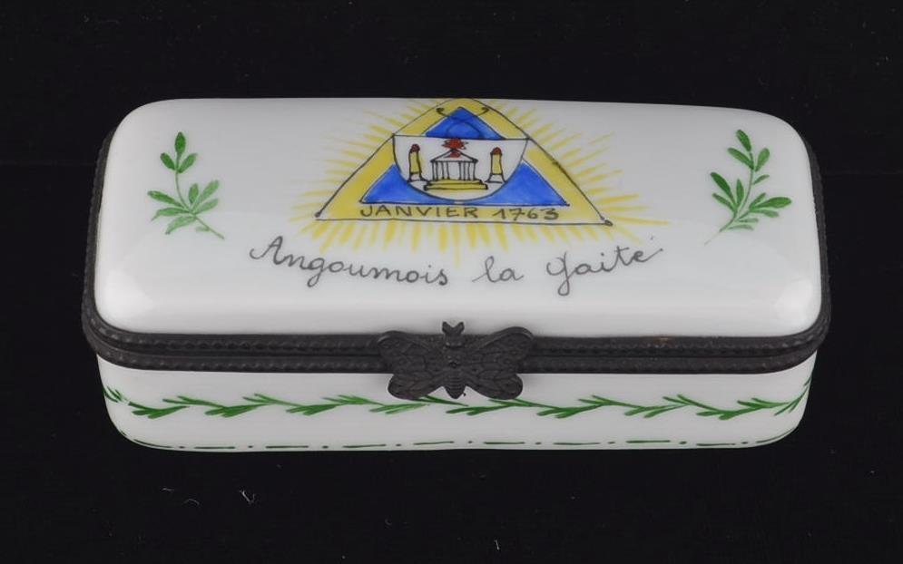 ANTIQUE FRENCH PORCELAIN TRINKET BOX-ANGOUMOIS LA GAITE-JANVIER 1763-3 1/2