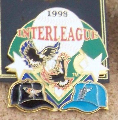 1998 Baltimore Orioles vs Florida Marlins Interleague hat pin MLB