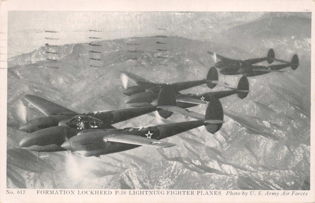 LOCKHEED P-38s~LIGHTNING FIGHTER PLANES-ARMY AIR FORCE~MILITARY POSTCARD 1943 PM