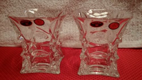 BOHEMIA CZECHOSLOVAKIA OVER 24% LEAD CRYSTAL WHISKEY GLASSES UNIQUE SET OF 2
