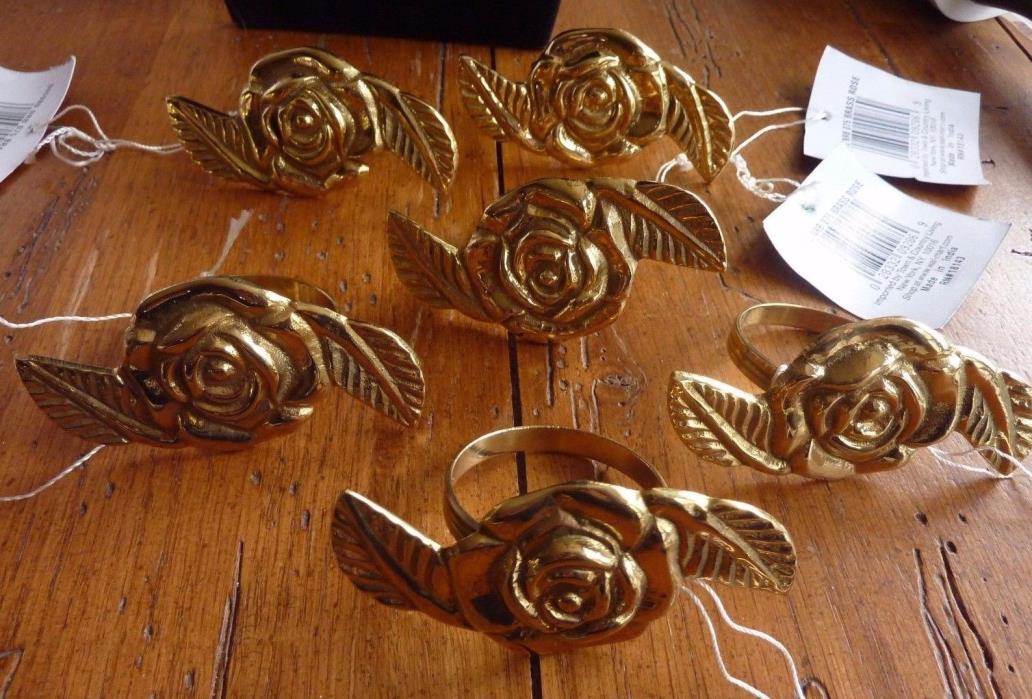 Set of 6 Rose Cast Metal Napkin Rings Holders Gold Toned Roses Beautiful