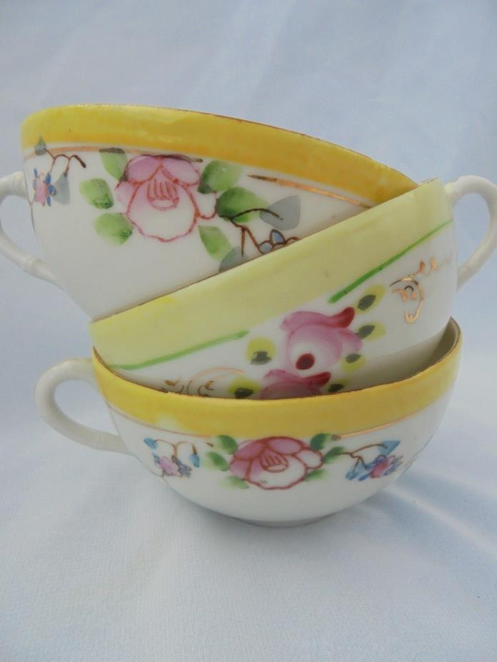 BONE CHINA VINTAGE Hand Painted Cups Set of 3