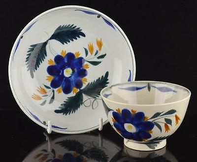 ENGLISH STAFFORDSHIRE PEARLWARE TEA BOWL & SAUCER C.1830-FLORAL DESIGN