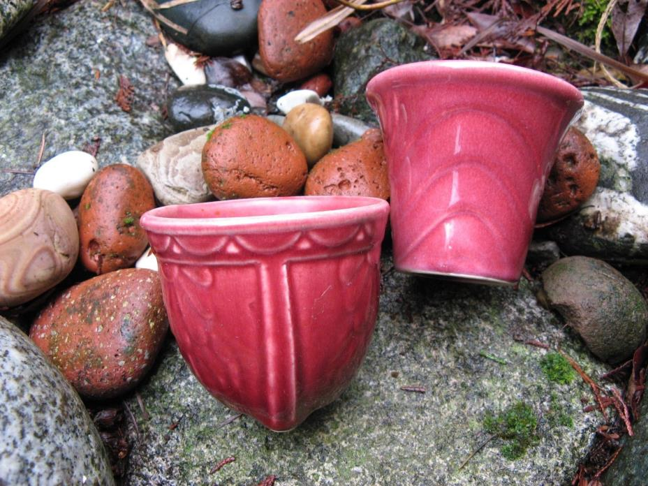 sweet duo! 2 antique USA pottery planters~TINY~maroon red~vases~mid century old~