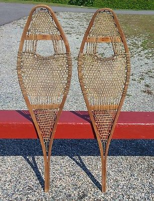 GREAT 'Faber' INDIAN SNOWSHOES 42x12 SNOW SHOES w/ LABELS VERY OLD!!